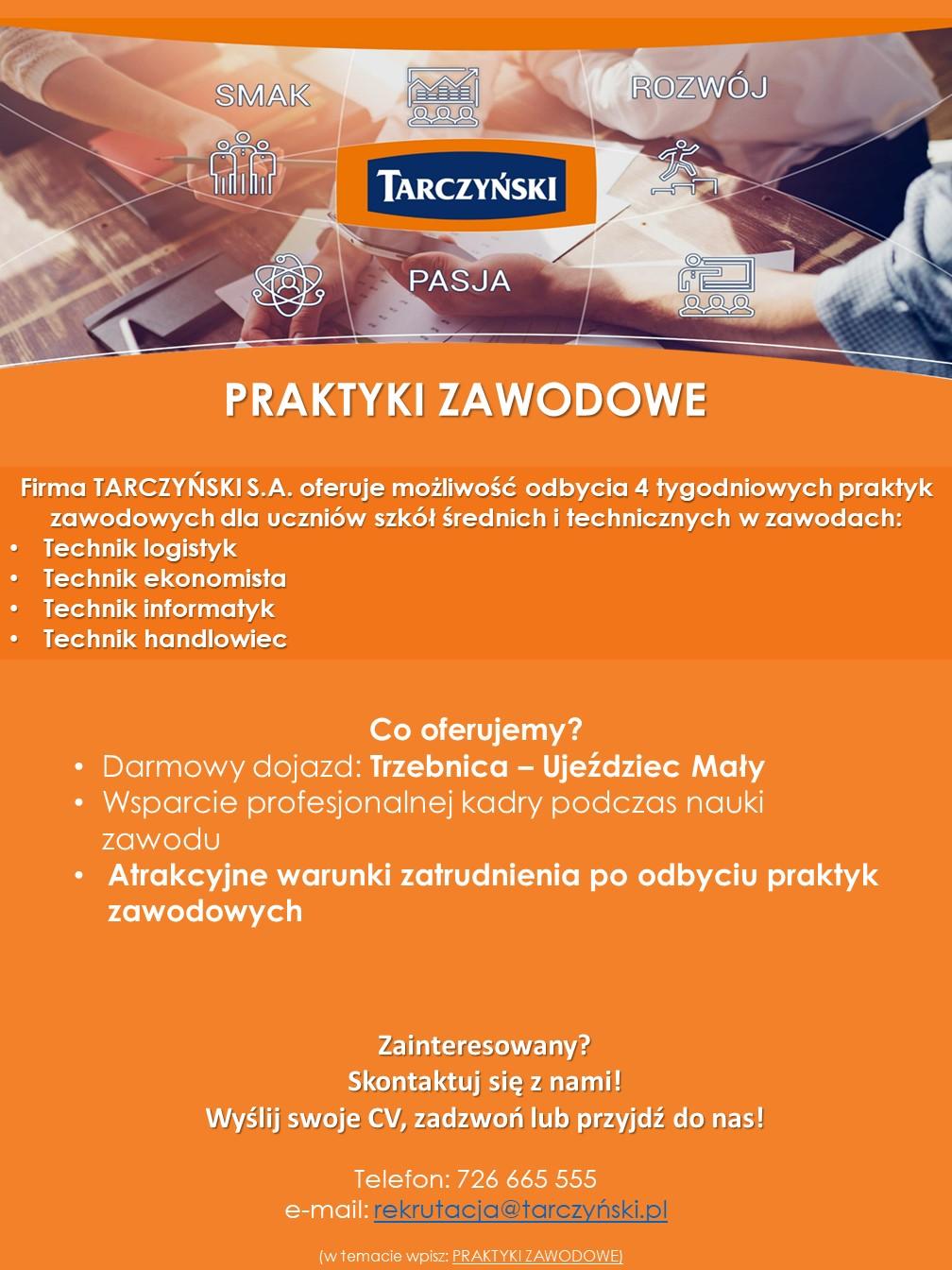 Praktyki zawodowe - oferta 2019