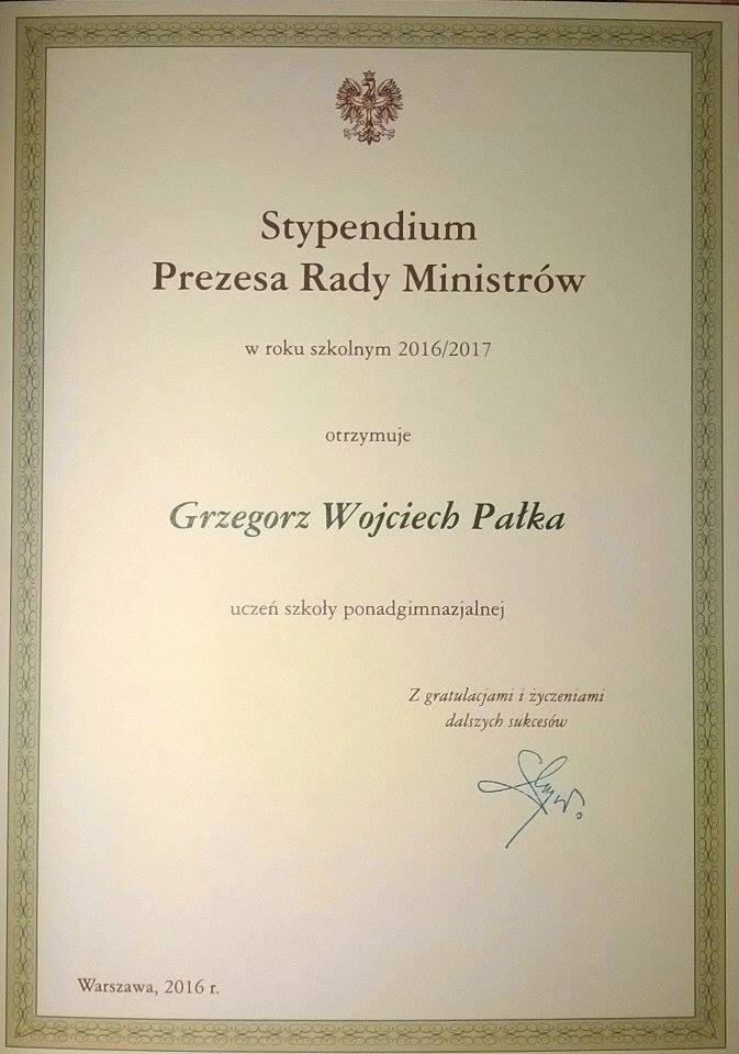 Grzegorz Pałka - Stypendystą Prezesa Rady Ministrów